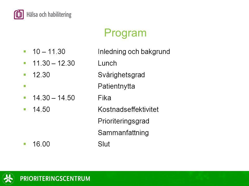 Program  10 – 11.30 Inledning och bakgrund  11.30 – 12.30Lunch  12.30 Svårighetsgrad  Patientnytta  14.30 – 14.50Fika  14.50 Kostnadseffektivite
