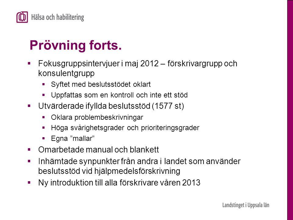 Prövning forts.  Fokusgruppsintervjuer i maj 2012 – förskrivargrupp och konsulentgrupp  Syftet med beslutsstödet oklart  Uppfattas som en kontroll
