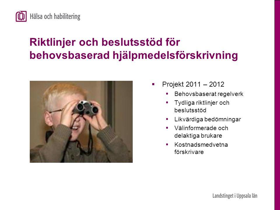 Riktlinjer och beslutsstöd för behovsbaserad hjälpmedelsförskrivning  Projekt 2011 – 2012  Behovsbaserat regelverk  Tydliga riktlinjer och beslutss