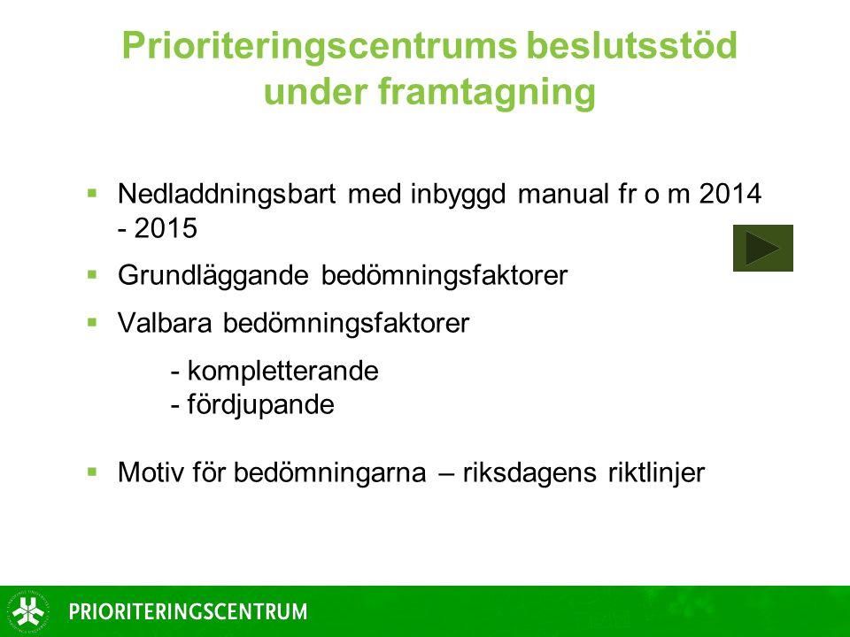 Prioriteringscentrums beslutsstöd under framtagning  Nedladdningsbart med inbyggd manual fr o m 2014 - 2015  Grundläggande bedömningsfaktorer  Valb