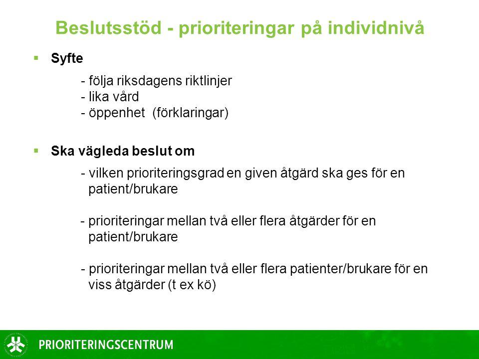 Beslutsstöd - prioriteringar på individnivå  Syfte - följa riksdagens riktlinjer - lika vård - öppenhet (förklaringar)  Ska vägleda beslut om - vilk