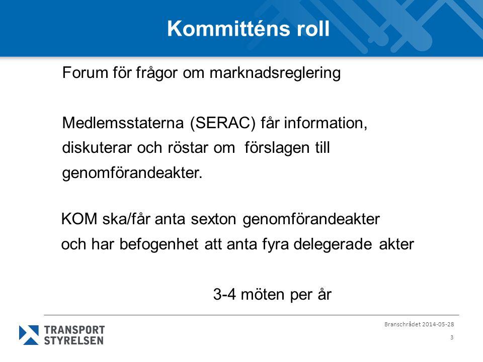 Branschrådet 2014-05-28 4 SERAC 5-6 februari 2014 3 genomförandeakter för röstning planerat ikraftträdande 20 dgr efter EUT-publicering 1.
