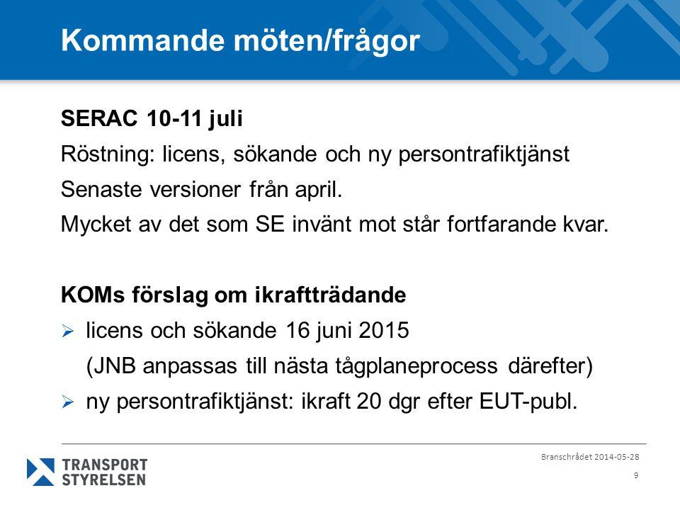 Branschrådet 2014-05-28 9 Kommande möten/frågor SERAC 10-11 juli Röstning: licens, sökande och ny persontrafiktjänst Senaste versioner från april.