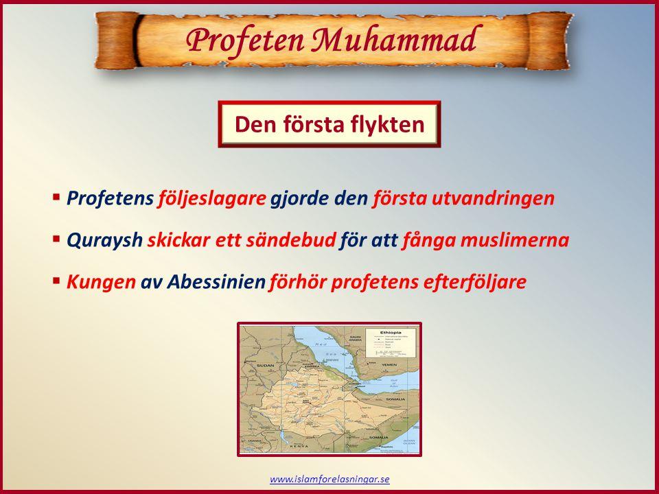 www.islamforelasningar.se Den första flykten Profeten Muhammad  Profetens följeslagare gjorde den första utvandringen  Quraysh skickar ett sändebud för att fånga muslimerna  Kungen av Abessinien förhör profetens efterföljare