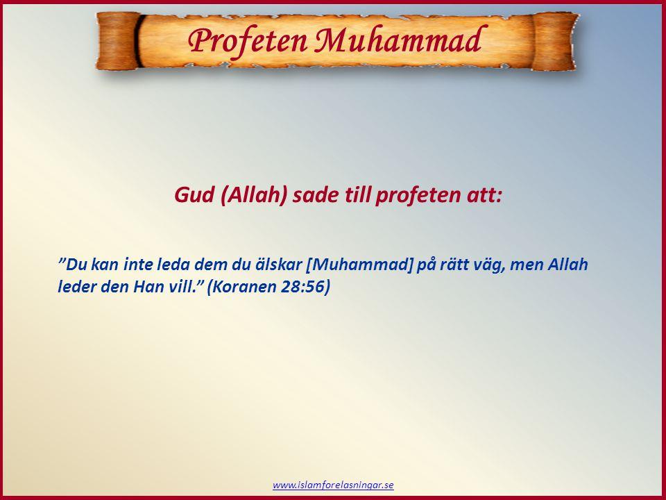 """www.islamforelasningar.se """"Du kan inte leda dem du älskar [Muhammad] på rätt väg, men Allah leder den Han vill."""" (Koranen 28:56) Gud (Allah) sade till"""