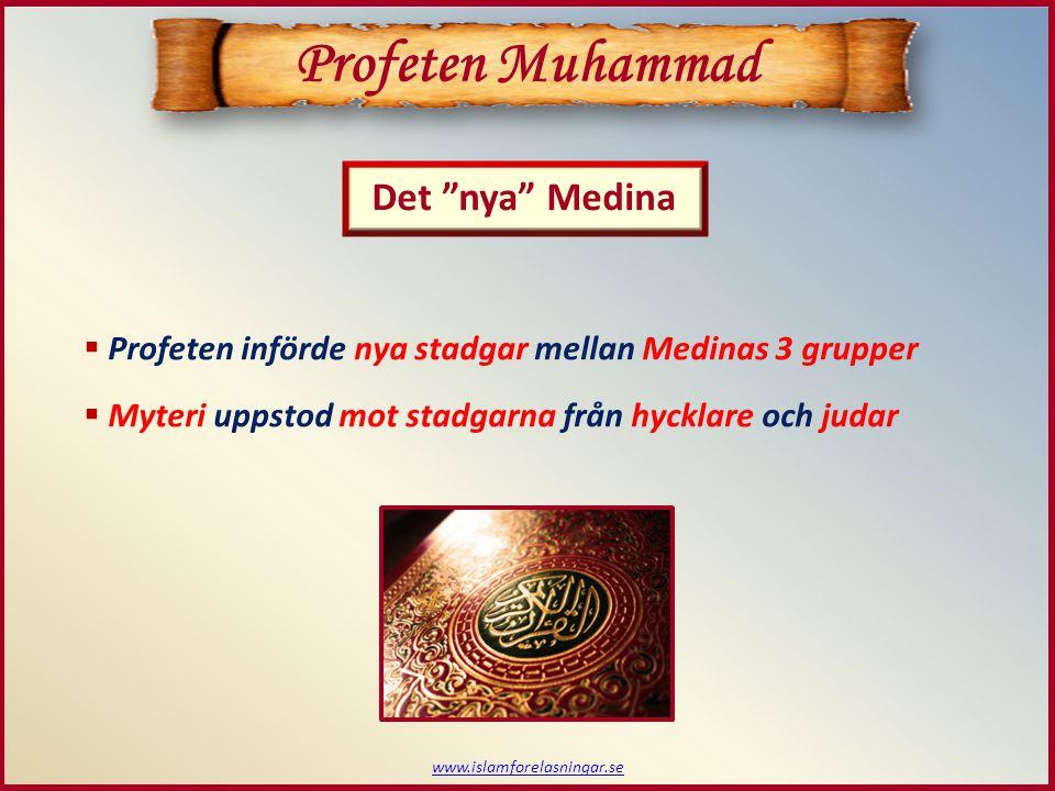 www.islamforelasningar.se Profeten Muhammad  Profeten införde nya stadgar mellan Medinas 3 grupper  Myteri uppstod mot stadgarna från hycklare och j