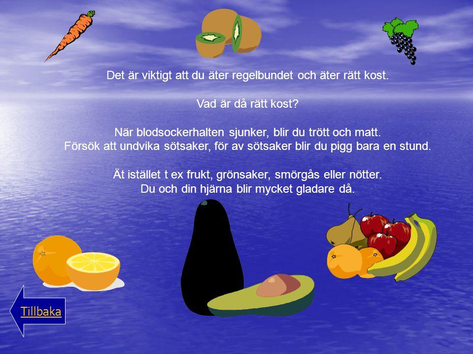 Det är viktigt att du äter regelbundet och äter rätt kost. Vad är då rätt kost? När blodsockerhalten sjunker, blir du trött och matt. Försök att undvi