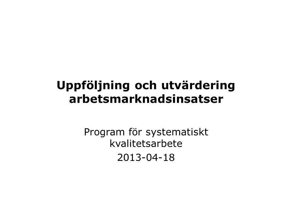 Uppföljning och utvärdering arbetsmarknadsinsatser Program för systematiskt kvalitetsarbete 2013-04-18