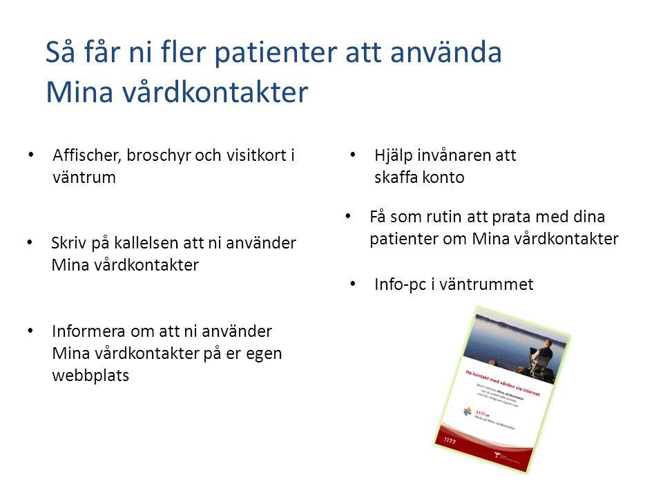 Så får ni fler patienter att använda Mina vårdkontakter Affischer, broschyr och visitkort i väntrum Skriv på kallelsen att ni använder Mina vårdkontak