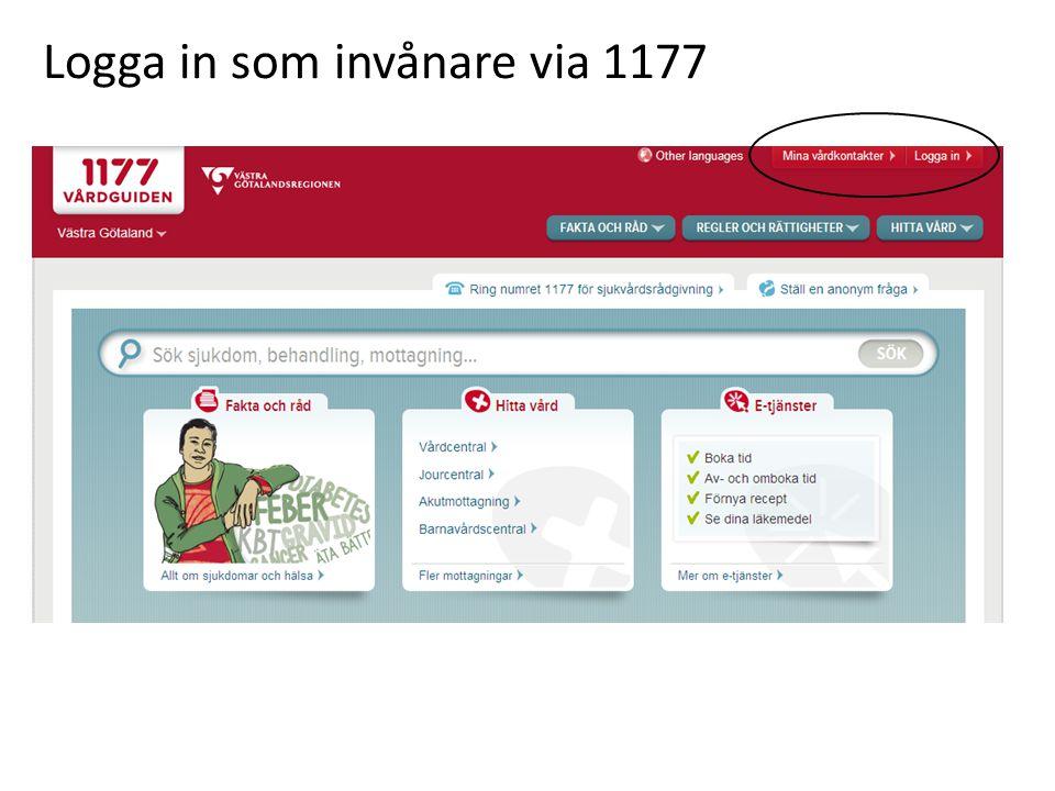 Logga in som invånare via 1177