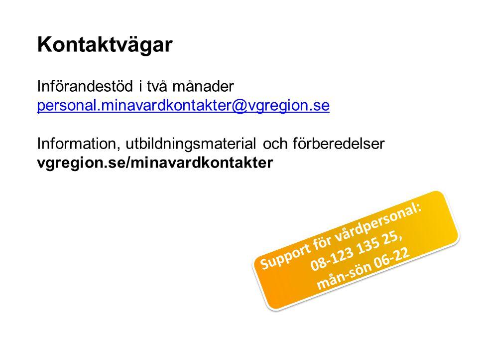 Kontaktvägar Införandestöd i två månader personal.minavardkontakter@vgregion.se Information, utbildningsmaterial och förberedelser vgregion.se/minavar