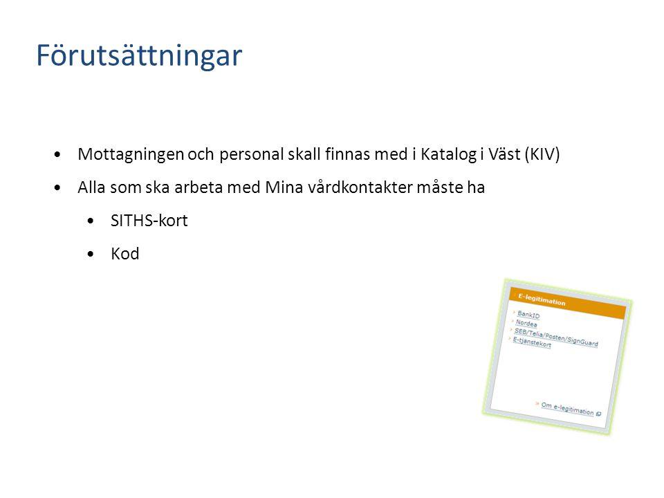 Förutsättningar Mottagningen och personal skall finnas med i Katalog i Väst (KIV) Alla som ska arbeta med Mina vårdkontakter måste ha SITHS-kort Kod