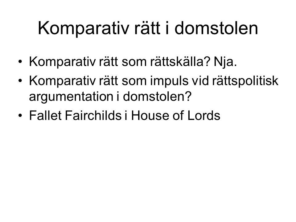 Komparativ rätt i domstolen Komparativ rätt som rättskälla.