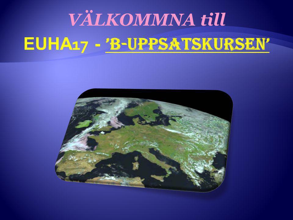 VÄLKOMMNA till EUHA 17 - 'B-uppsatskursen'