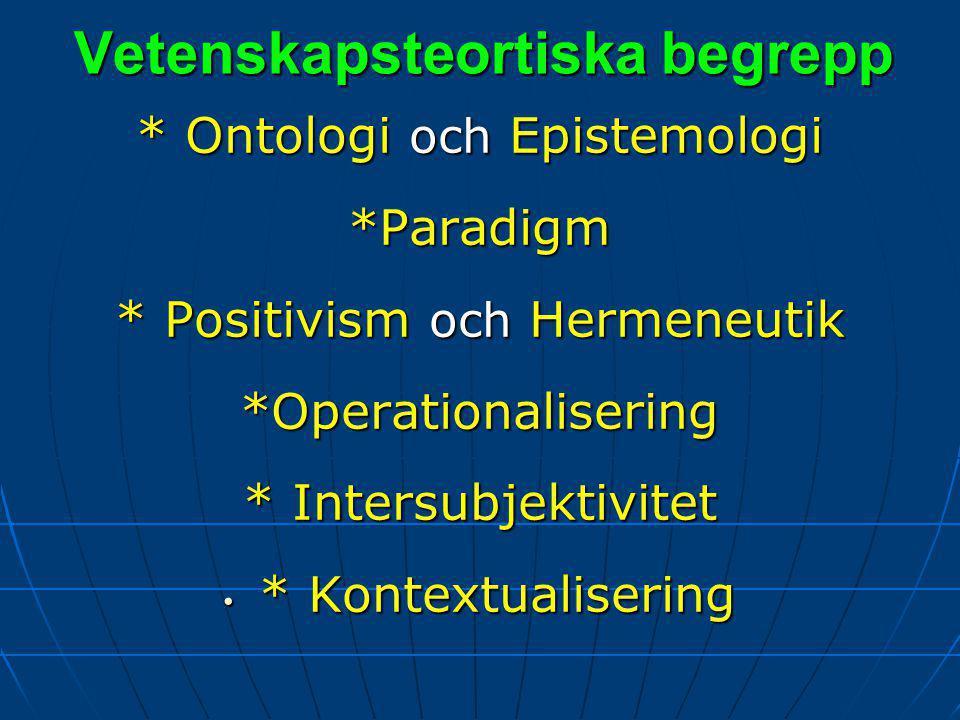 Vetenskapsteortiska begrepp * Ontologi och Epistemologi *Paradigm * Positivism och Hermeneutik *Operationalisering * Intersubjektivitet * Kontextualisering * Kontextualisering
