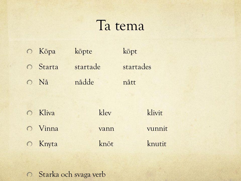 Ta tema Köpaköpteköpt Starta startadestartades Nå nåddenått Klivaklevklivit Vinnavannvunnit Knytaknöt knutit Starka och svaga verb