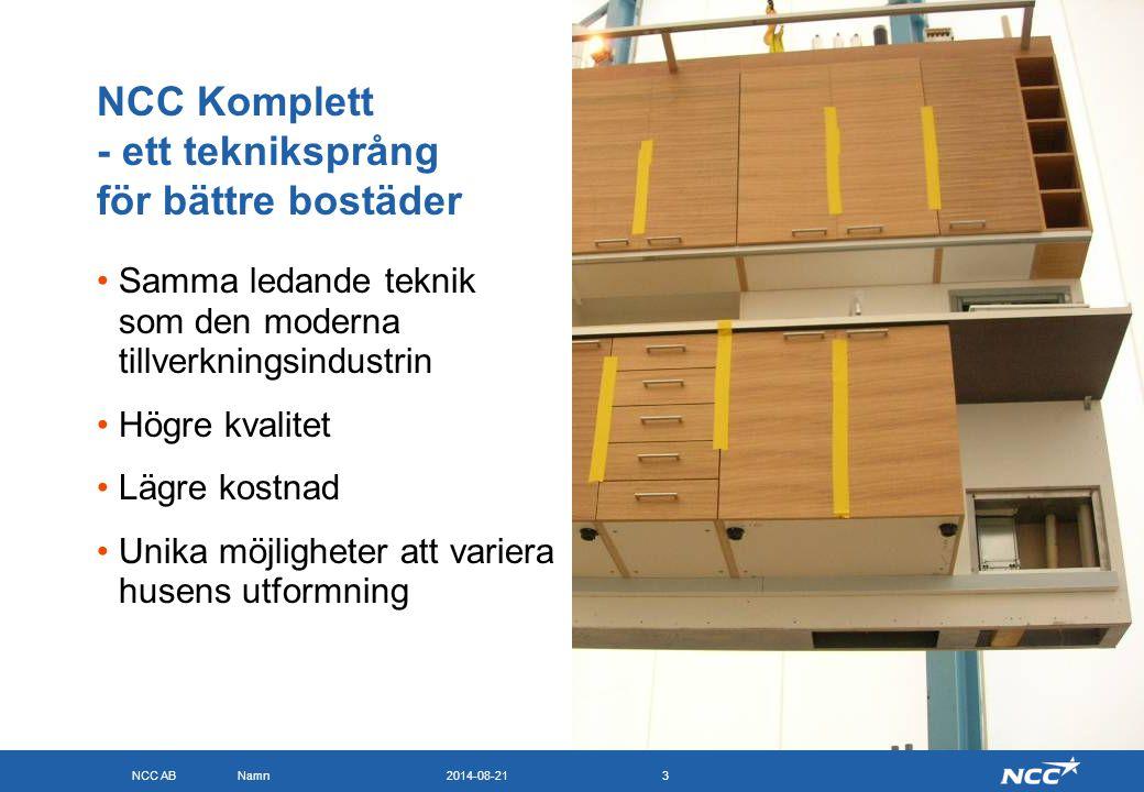 NCC AB 2014-08-21Namn3 NCC Komplett - ett tekniksprång för bättre bostäder Samma ledande teknik som den moderna tillverkningsindustrin Högre kvalitet