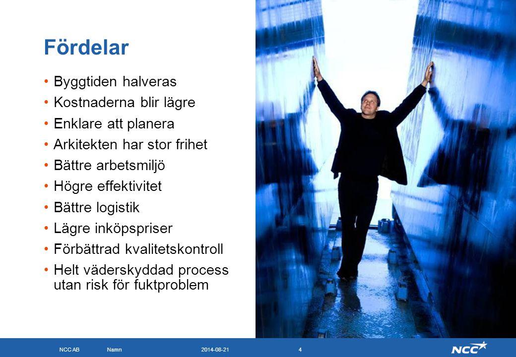 NCC AB 2014-08-21Namn4 Fördelar Byggtiden halveras Kostnaderna blir lägre Enklare att planera Arkitekten har stor frihet Bättre arbetsmiljö Högre effe