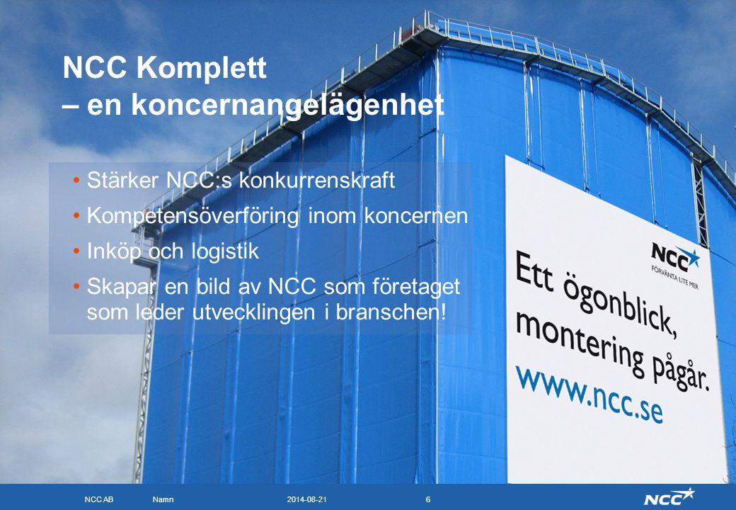 NCC AB 2014-08-21Namn6 NCC Komplett – en koncernangelägenhet Stärker NCC:s konkurrenskraft Kompetensöverföring inom koncernen Inköp och logistik Skapa