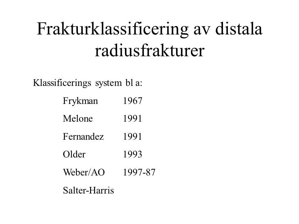 Frakturklassificering av distala radiusfrakturer Klassificerings system bl a: Frykman 1967 Melone 1991 Fernandez1991 Older 1993 Weber/AO1997-87 Salter