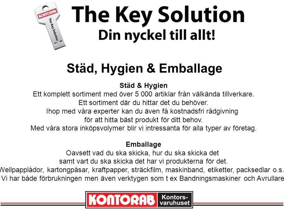 Städ, Hygien & Emballage Städ & Hygien Ett komplett sortiment med över 5 000 artiklar från välkända tillverkare.