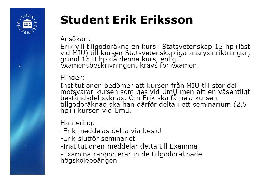 Student Erik Eriksson Ansökan: Erik vill tillgodoräkna en kurs i Statsvetenskap 15 hp (läst vid MIU) till kursen Statsvetenskapliga analysinriktningar, grund 15.0 hp då denna kurs, enligt examensbeskrivningen, krävs för examen.