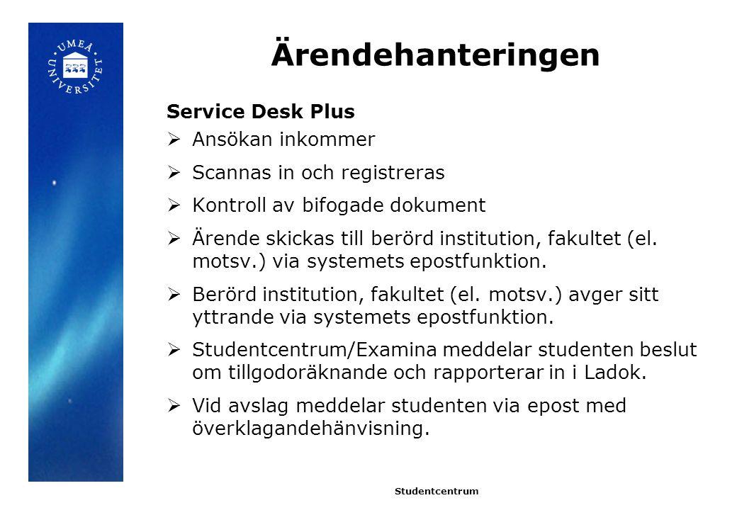 Ärendehanteringen Service Desk Plus  Ansökan inkommer  Scannas in och registreras  Kontroll av bifogade dokument  Ärende skickas till berörd institution, fakultet (el.