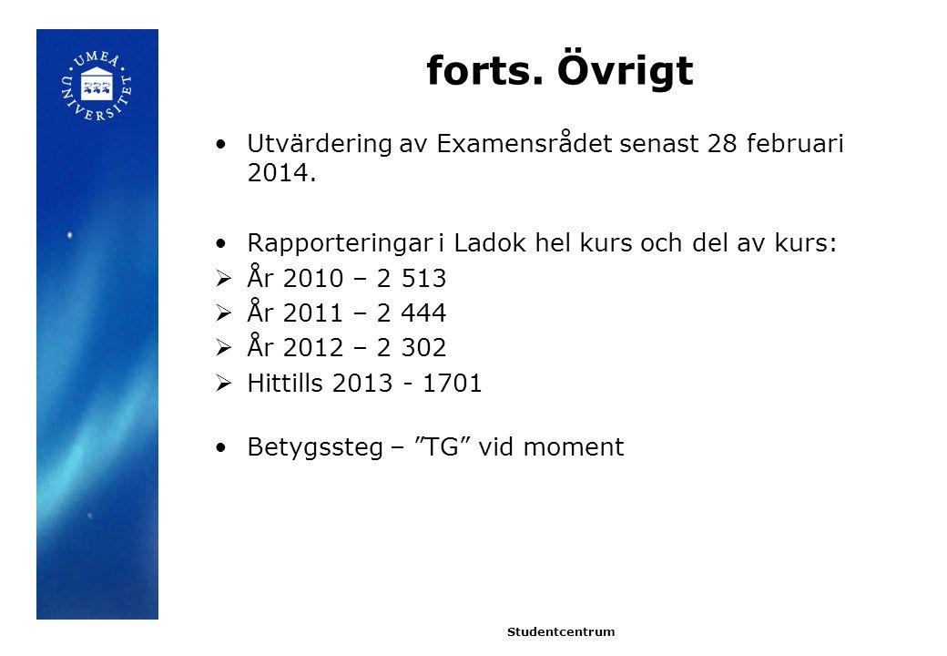 forts.Övrigt Utvärdering av Examensrådet senast 28 februari 2014.