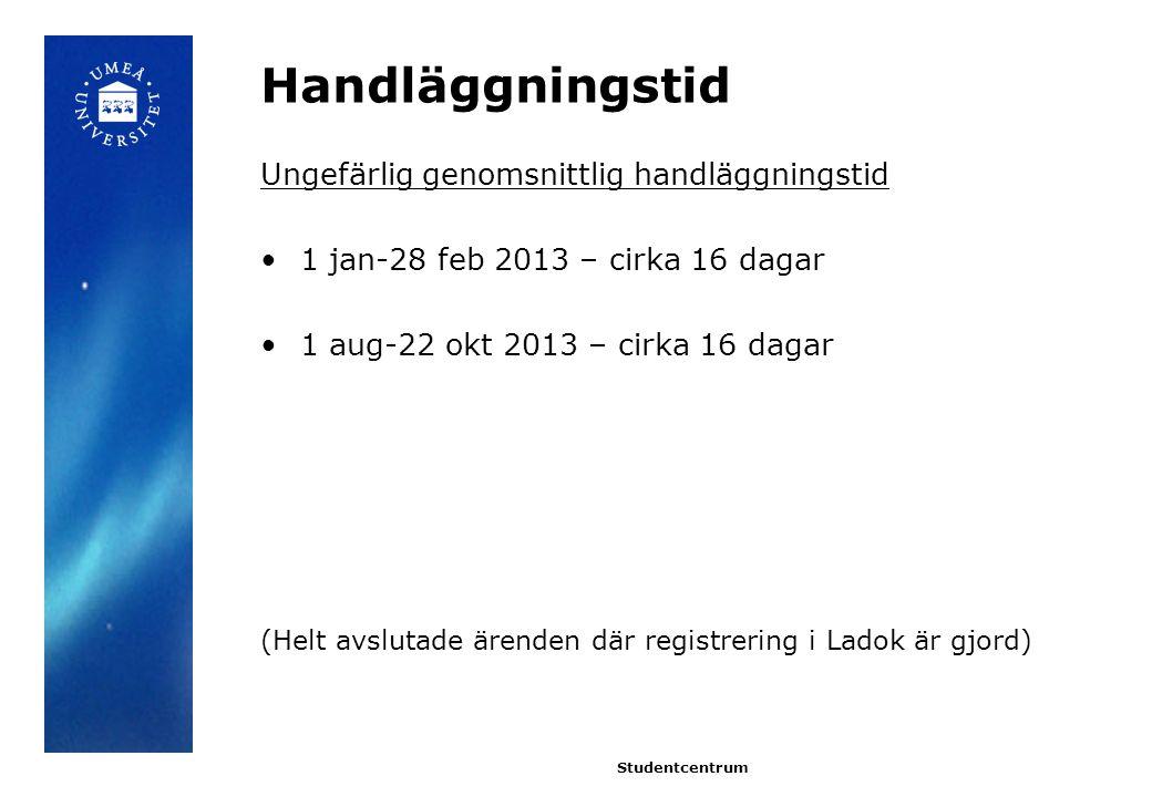Handläggningstid Ungefärlig genomsnittlig handläggningstid 1 jan-28 feb 2013 – cirka 16 dagar 1 aug-22 okt 2013 – cirka 16 dagar (Helt avslutade ärenden där registrering i Ladok är gjord) Studentcentrum