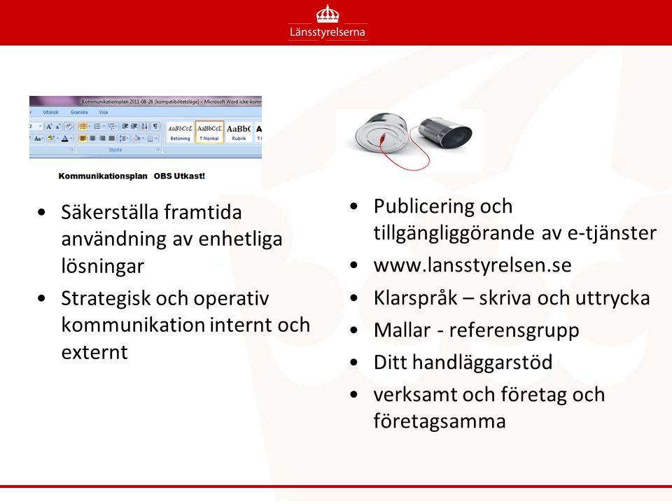Säkerställa framtida användning av enhetliga lösningar Strategisk och operativ kommunikation internt och externt Publicering och tillgängliggörande av