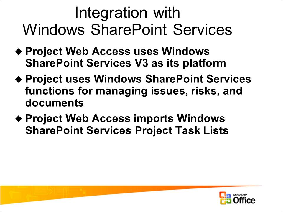 Integration with Windows SharePoint Services  Project Web Access uses Windows SharePoint Services V3 as its platform  Project uses Windows SharePoint Services functions for managing issues, risks, and documents  Project Web Access imports Windows SharePoint Services Project Task Lists