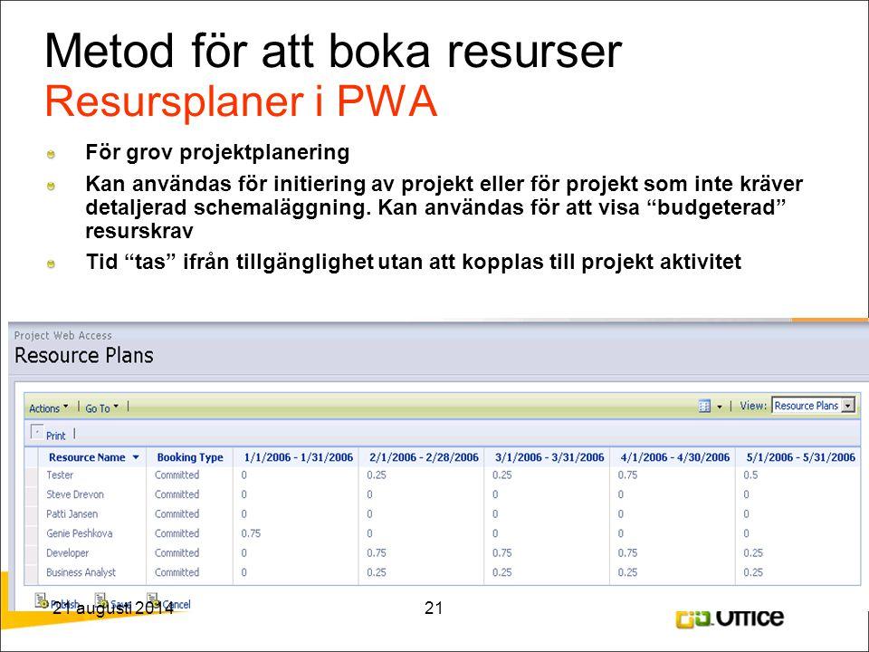 Metod för att boka resurser Resursplaner i PWA För grov projektplanering Kan användas för initiering av projekt eller för projekt som inte kräver deta