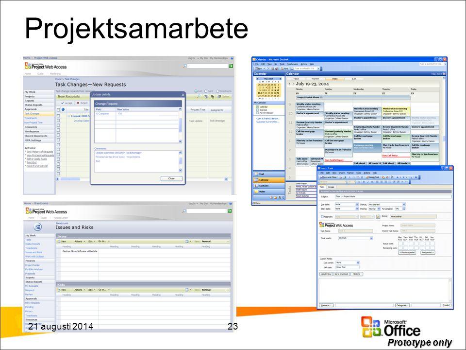 Projektsamarbete Prototype only 21 augusti 201423