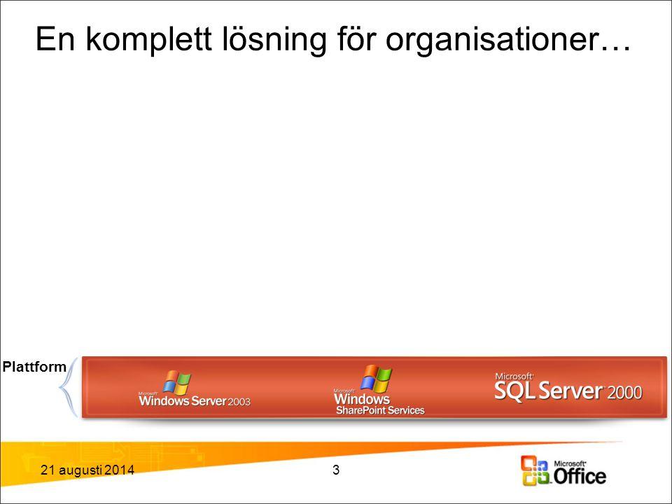 En komplett lösning för organisationer… Plattform 21 augusti 20143