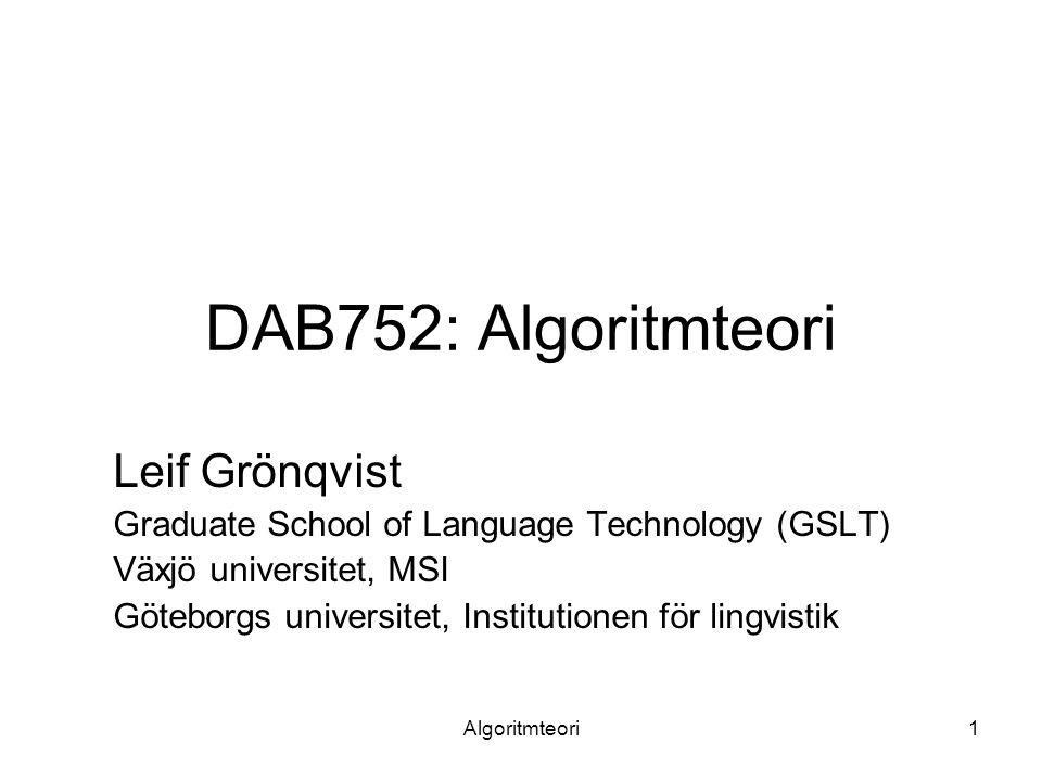 Algoritmteori2 Lärare på kursen och upplägg Maria Karlsson (moment 3 och 5, kursansvarig) –maria.karlsson@msi.vxu.se Leif Grönqvist (moment 1 och 2) –leif.gronqvist@msi.vxu.se Niklas Pettersson (moment 4 och 6) –niklas.pettersson@msi.vxu.se Föreläsningar, övningar för varje moment 3 laborationer Tentamen Titta på webbsidan regelbundet!