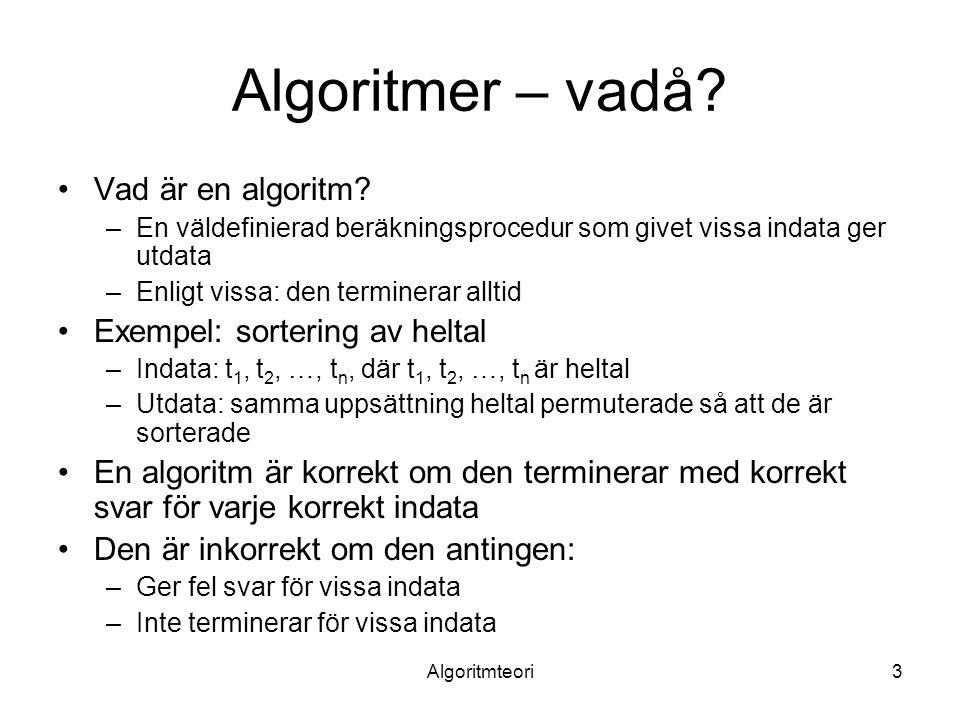 Algoritmteori14 O, Ω, Θ, o och ω, forts.