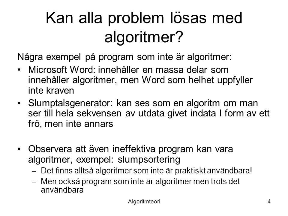 Algoritmteori4 Kan alla problem lösas med algoritmer.