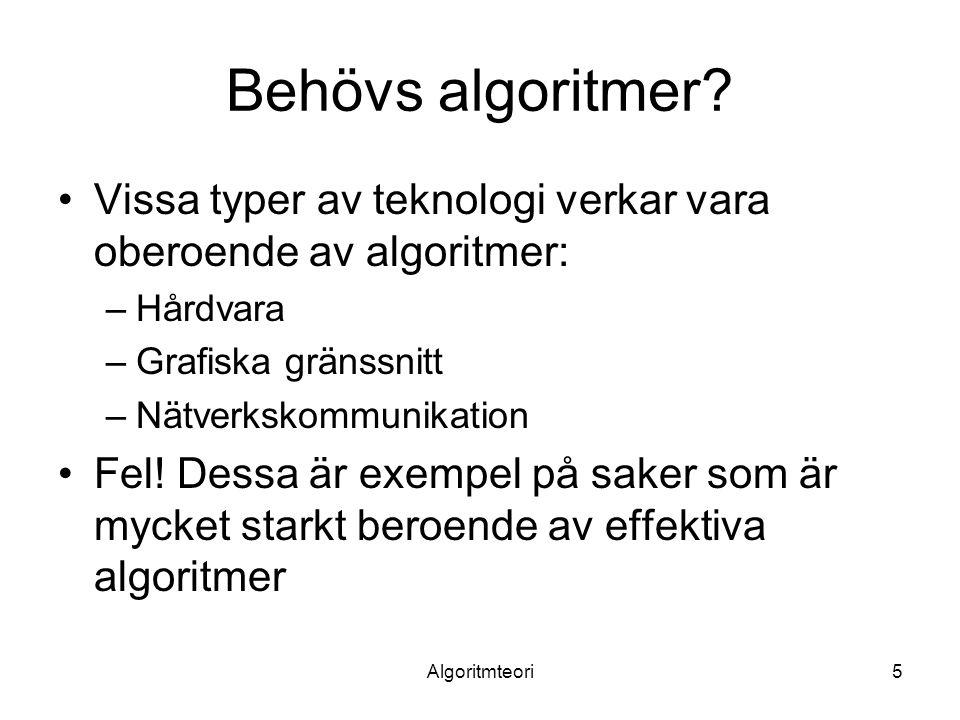 Algoritmteori6 Hårda problem Det finns problem som inte kan lösas med effektiva algoritmer: NP-kompletta problem –De kan inte lösa på polynomiell tid –Effektiva algoritmer kan finnas för vissa indata –Bra att känna till eftersom man kan undvika det onödiga arbetet att hitta en effektiv algoritm om problemet är NP-komplett Exempel: handelsresandeproblemet Mer om detta kommer senare i kursen Obs.