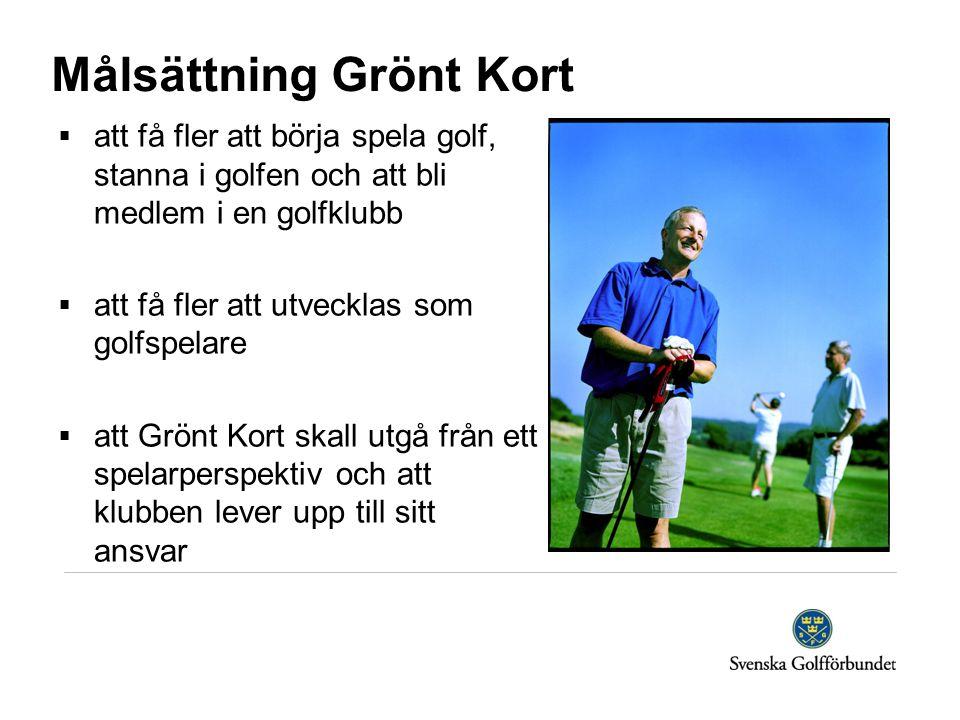 Målsättning Grönt Kort  att få fler att börja spela golf, stanna i golfen och att bli medlem i en golfklubb  att få fler att utvecklas som golfspelare  att Grönt Kort skall utgå från ett spelarperspektiv och att klubben lever upp till sitt ansvar