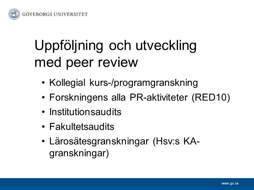 www.gu.se Uppföljning och utveckling med peer review Kollegial kurs-/programgranskning Forskningens alla PR-aktiviteter (RED10) Institutionsaudits Fakultetsaudits Lärosätesgranskningar (Hsv:s KA- granskningar)