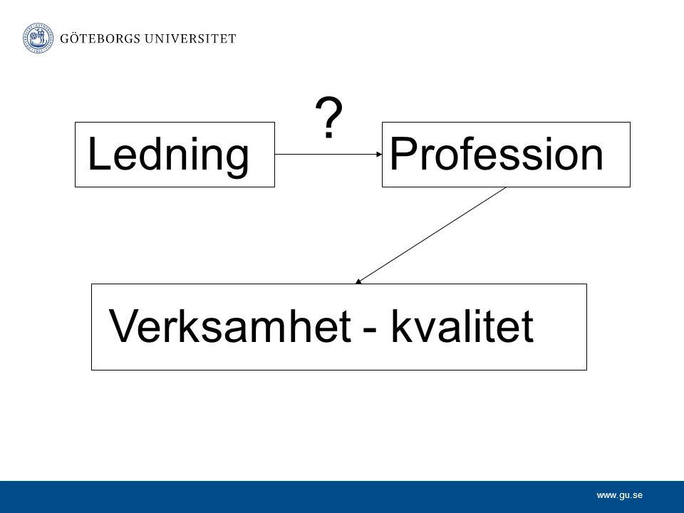 www.gu.se LedningProfession Verksamhet - kvalitet ?