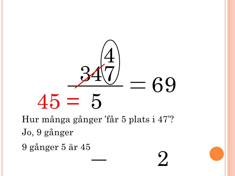 3 5 47 4 Hur många gånger 'får 5 plats i 47'? 6 Jo, 9 gånger 9 9 gånger 5 är 45 2 45 =
