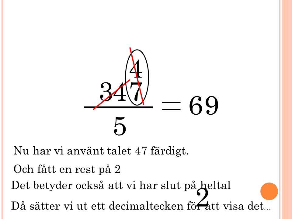 3 5 47 4 6 2 Nu har vi använt talet 47 färdigt. Och fått en rest på 2 Det betyder också att vi har slut på heltal Då sätter vi ut ett decimaltecken fö