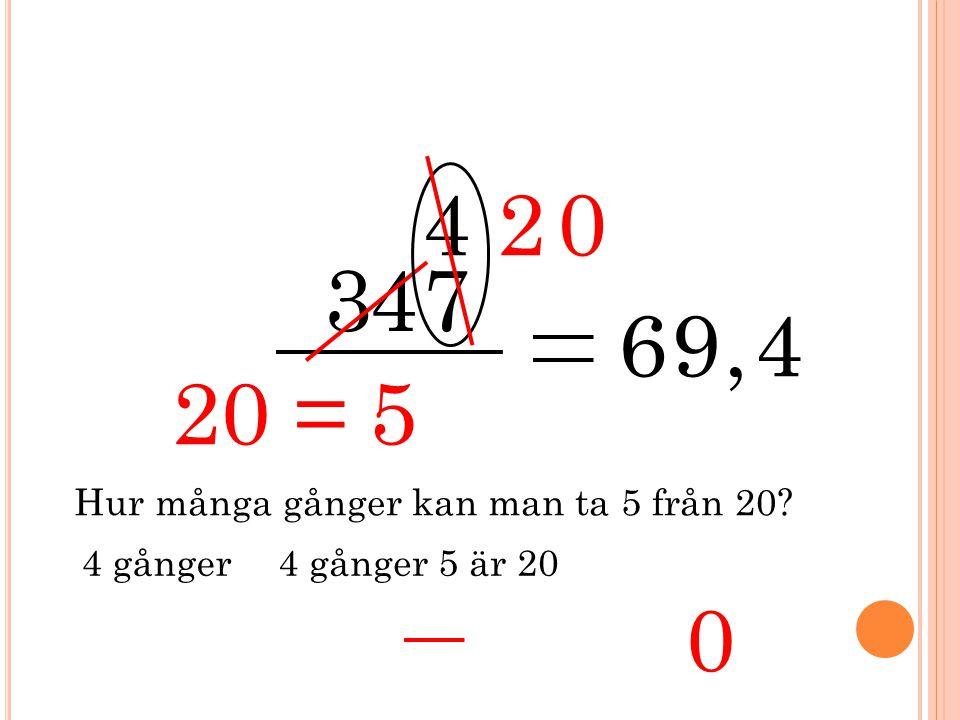 3 5 47 4 69, 20 Hur många gånger kan man ta 5 från 20? 4 gånger 4 4 gånger 5 är 20 20 = 0