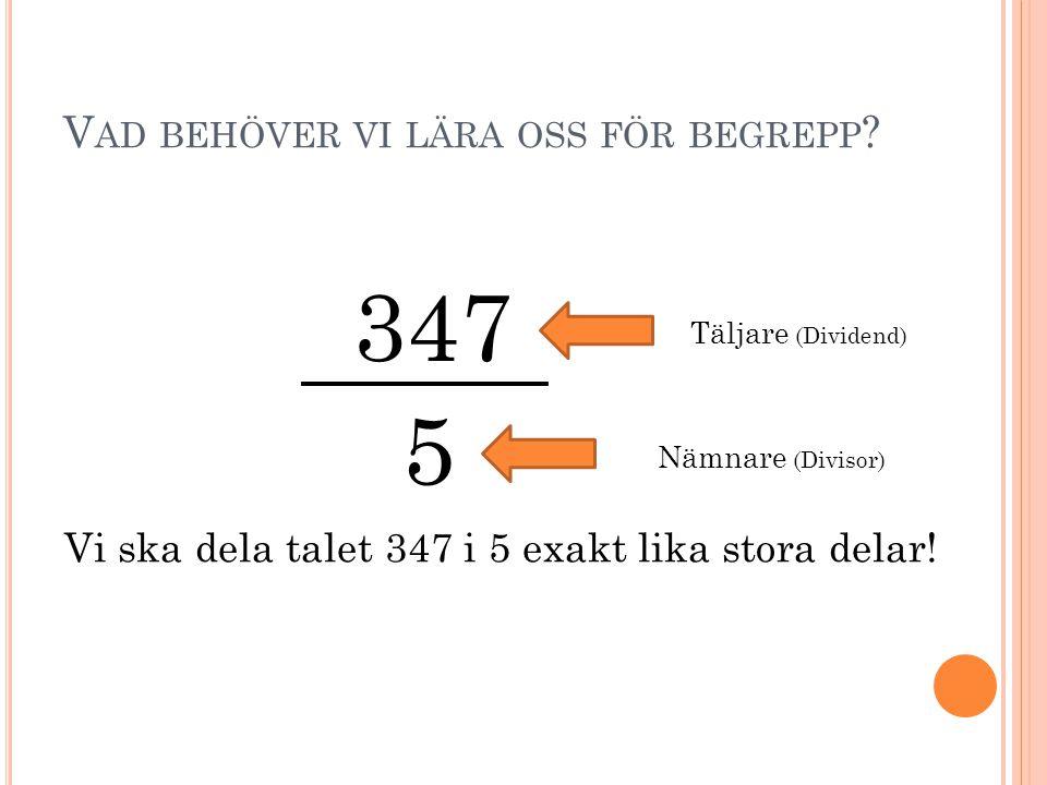 V AD BEHÖVER VI LÄRA OSS FÖR BEGREPP ? 347 5 Täljare (Dividend) Nämnare (Divisor) Vi ska dela talet 347 i 5 exakt lika stora delar!