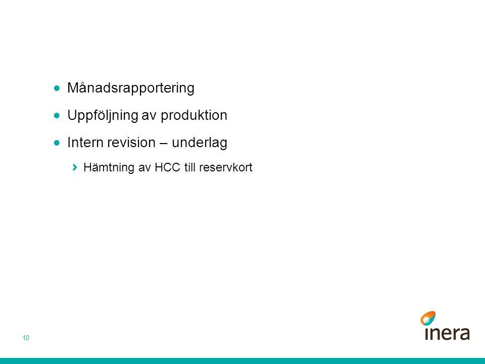 Månadsrapportering  Uppföljning av produktion  Intern revision – underlag Hämtning av HCC till reservkort 10