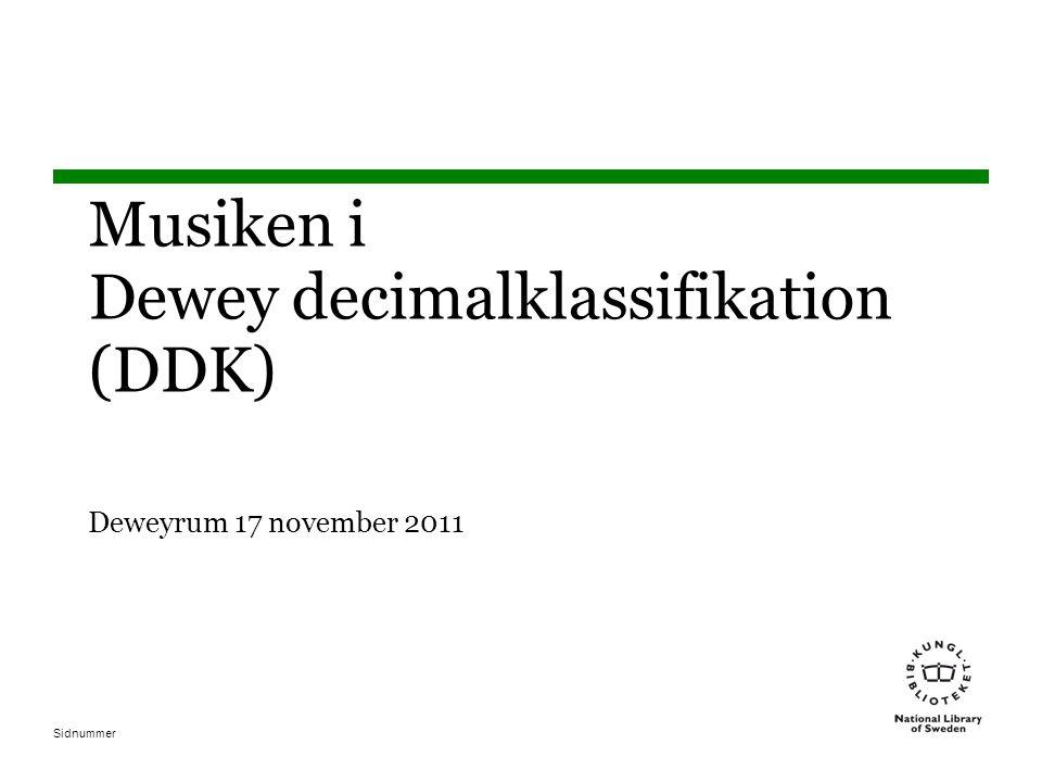 Sidnummer Musiken i Dewey decimalklassifikation (DDK) Deweyrum 17 november 2011
