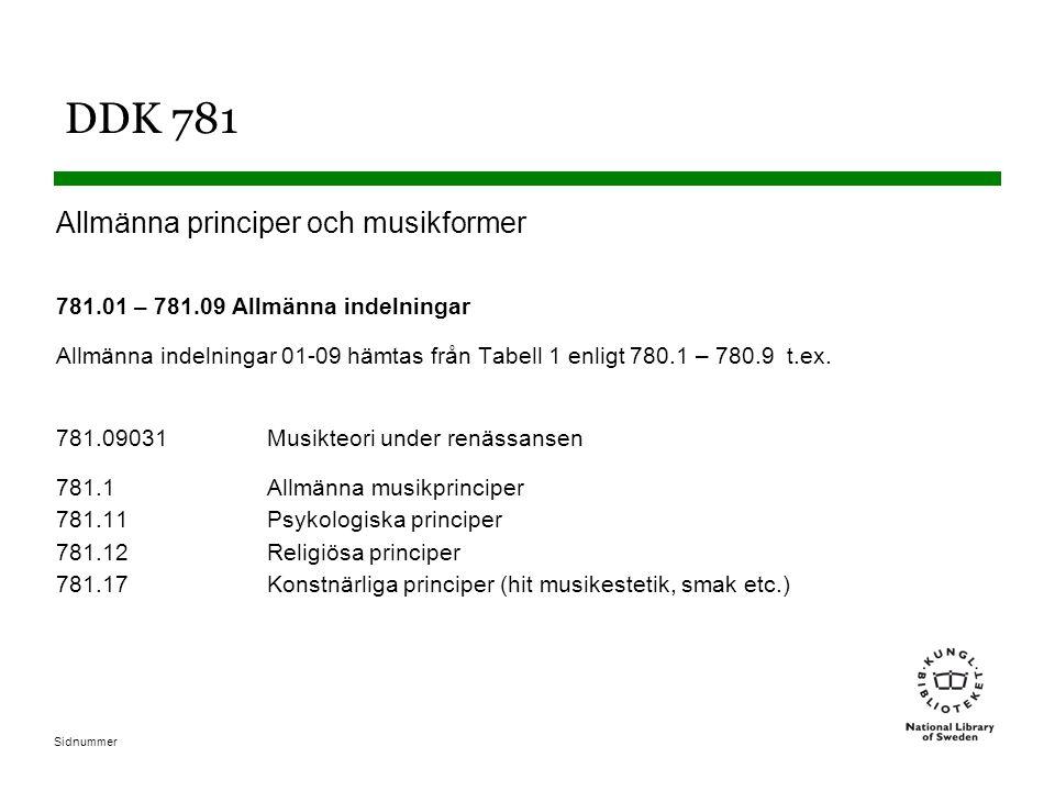 Sidnummer DDK 781 Allmänna principer och musikformer 781.01 – 781.09 Allmänna indelningar Allmänna indelningar 01-09 hämtas från Tabell 1 enligt 780.1 – 780.9 t.ex.
