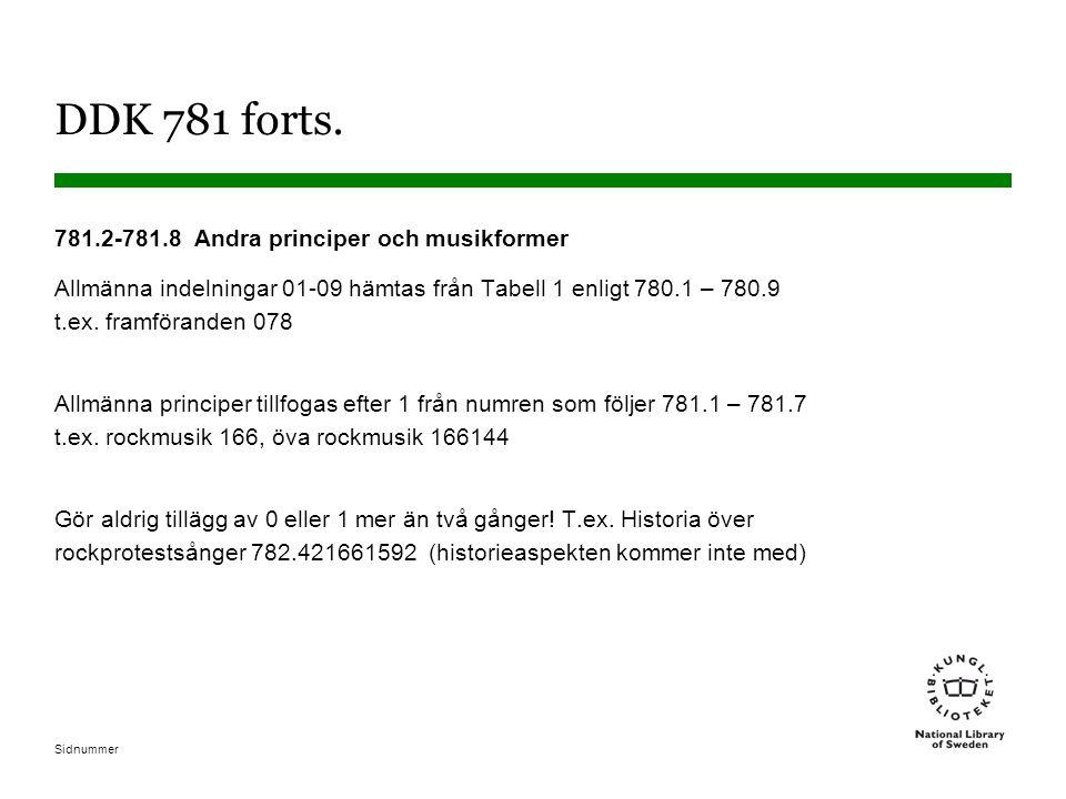 Sidnummer DDK 781 forts. 781.2-781.8 Andra principer och musikformer Allmänna indelningar 01-09 hämtas från Tabell 1 enligt 780.1 – 780.9 t.ex. framfö