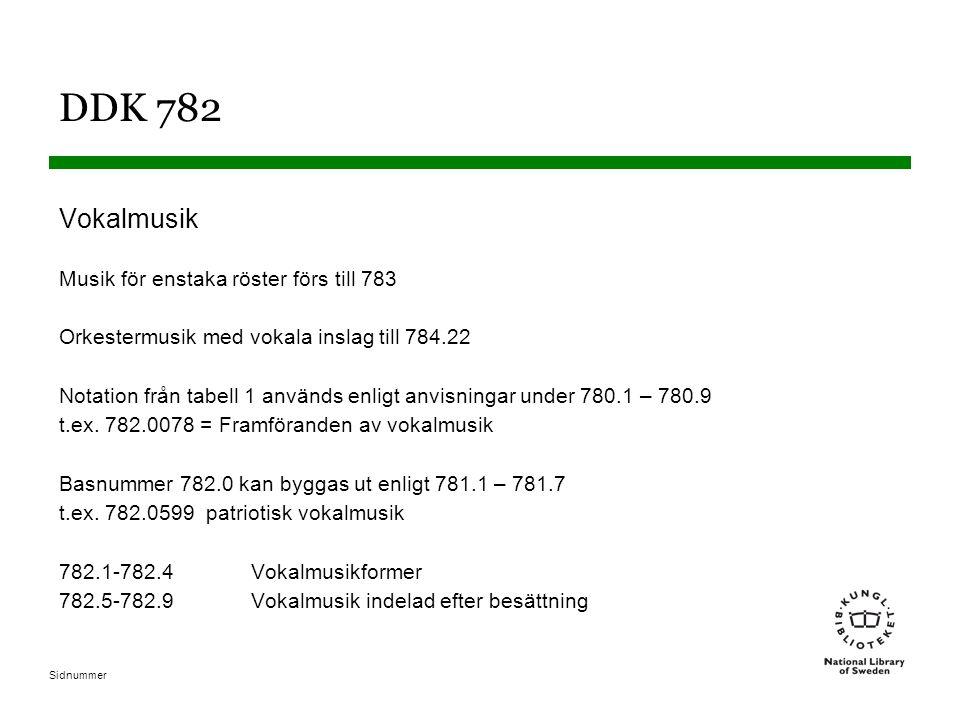 Sidnummer DDK 782 Vokalmusik Musik för enstaka röster förs till 783 Orkestermusik med vokala inslag till 784.22 Notation från tabell 1 används enligt anvisningar under 780.1 – 780.9 t.ex.